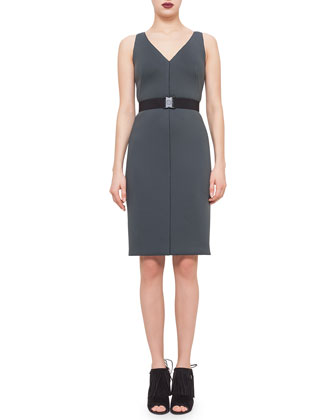 Drawstring-Waist Cropped Jacket & Sleeveless Belted Sheath Dress