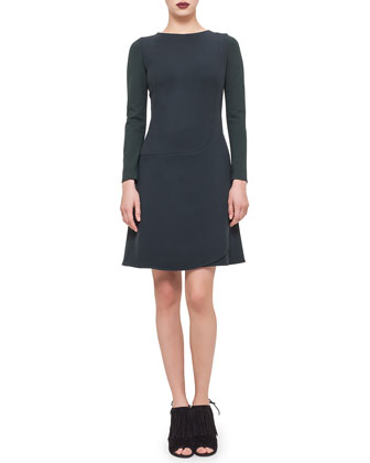 Long-Sleeve Faux-Wrap Dress, Bottle