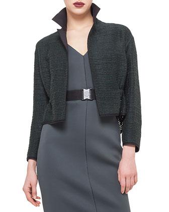 Drawstring-Waist Cropped Jacket & Sleeveless Belted Sheath Dress
