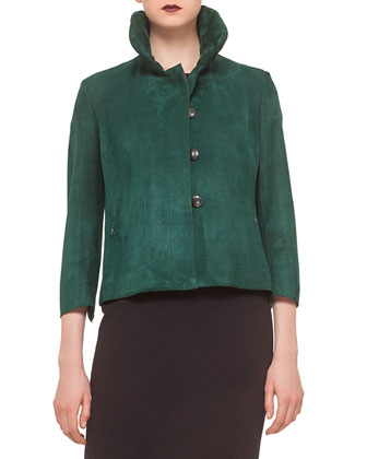 3/4-Sleeve Button-Front Suede Jacket, Tourmaline