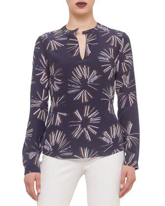 Long-Sleeve Matchstick-Print Blouse, Ultramarine