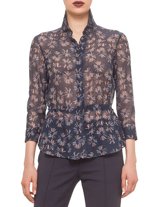 Drawstring-Waist Matchstick-Print Blouse & Franca Mid-Rise Cropped Pants