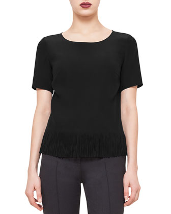 Short-Sleeve Fringe-Hem Blouse, Black
