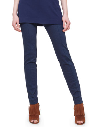Mara Seamed Skinny Jersey Pants, Denim