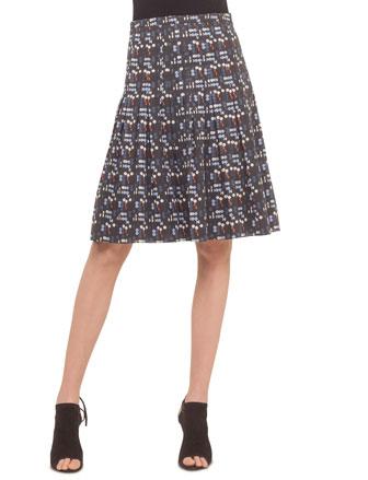 Long-Sleeve Contrast-Cuff Shirt & Pleated A-Line Skirt