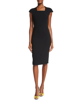 Cap-Sleeve Square-Neck Sheath Dress, Black