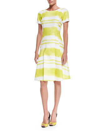 Short-Sleeve Multi-Stripe Dress, White/Yellow