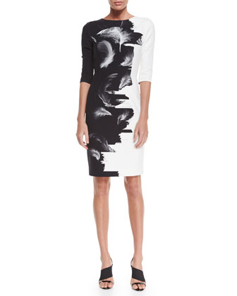 Two-Tone Techno Sheath Dress, Black/White