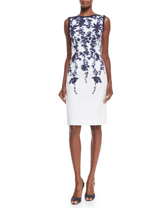 Sleeveless Floral-Print Sheath Dress, Navy/Ivory