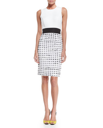 Sleeveless Two-Tone Sheath Dress, Black/White