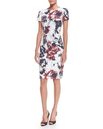 Rose & Dot-Print Sheath Dress, Red/Navy/White