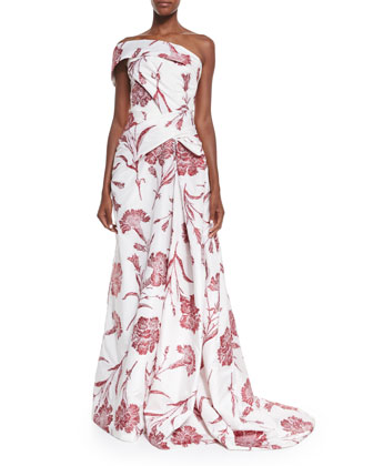 One Shoulder Carnation Fil Coupe Gown, Red Rose/White