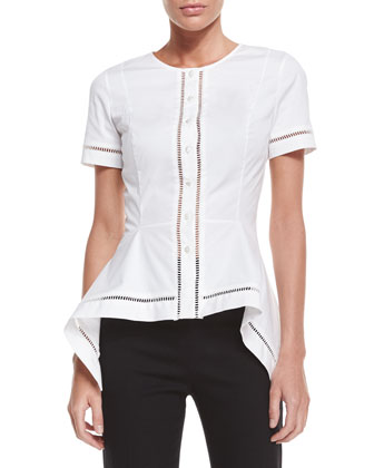 Short-Sleeve Button-Front Blouse, White