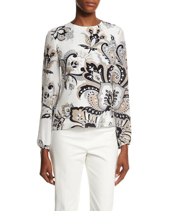 Long-Sleeve Paisley-Print Blouse, Black/Beige