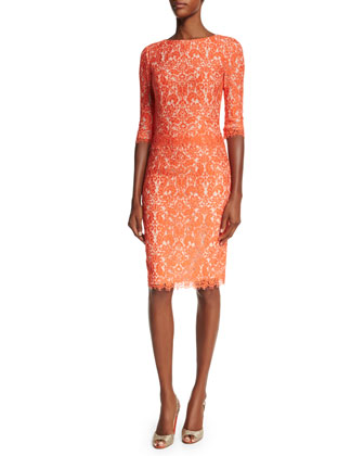 Elbow-Sleeve Lace Sheath Dress, Coral
