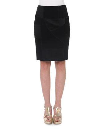 High-Waist Patchwork Pencil Skirt, Black