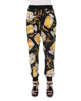 Perfume Bottle Jogger Pants, Black/Yellow