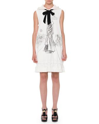 Sleeveless Hooded Sweatshirt Dress, White