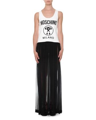 Sleeveless Pleated Maxi Dress, White/Black