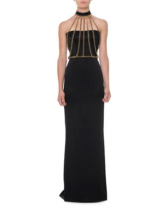 Chain Halter-Neck Bustier Gown, Black