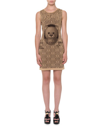 Sleeveless Teddy-Bear Sheath Dress, Gold