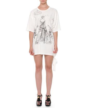 Graphic-Print T-Shirt Dress, White