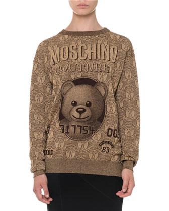 Teddy Bear Long-Sleeve Sweatshirt, Gold
