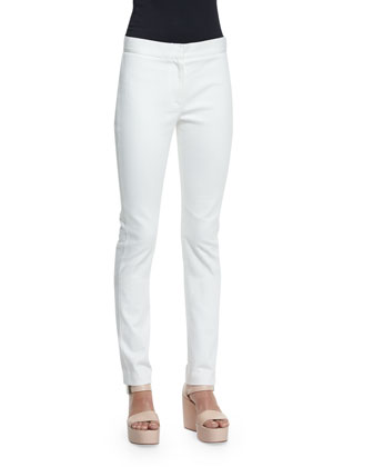 Long-Sleeve Crescent-Print Tunic & Hanne Mid-Rise Slim-Leg Jeans