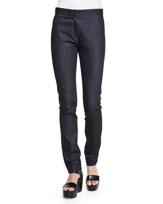 Hanne Mid-Rise Slim-Leg Jeans, Indigo