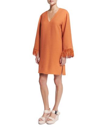 V-Neck Kimono Dress W/Fringe, Orange