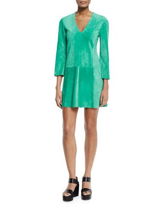 3/4-Sleeve V-Neck Shift Dress, Turquoise