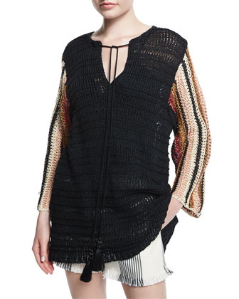 Cropped-Sleeve Crochet Top, Black Multi