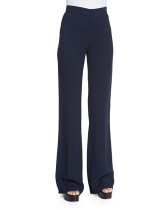 High-Waist Flare-Leg Trousers, Navy