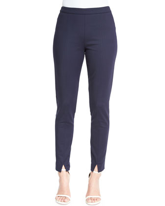 Stretch Micro Ottoman Cropped Pants, Navy