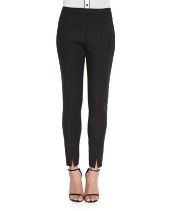 Stretch Micro Ottoman Cropped Pants, Caviar