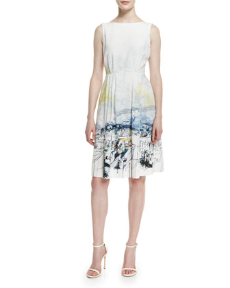 Amalfi Vista Print Sleeveless Dress