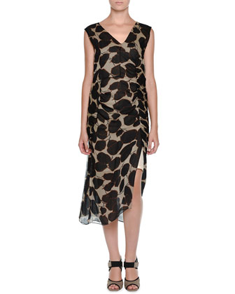Sleeveless Leaf-Print Sheath Dress, Antique White