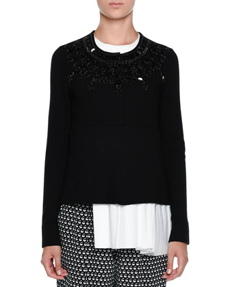 Embellished Button-Front Sweater, Black