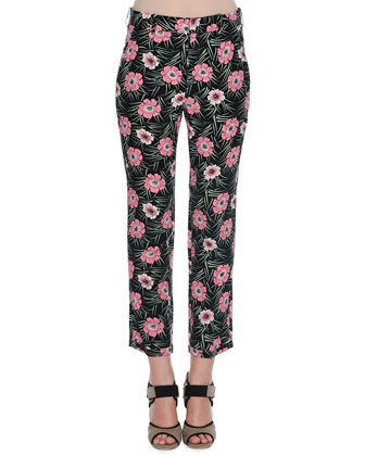Flat-Front Floral-Print Cropped Pants, Black