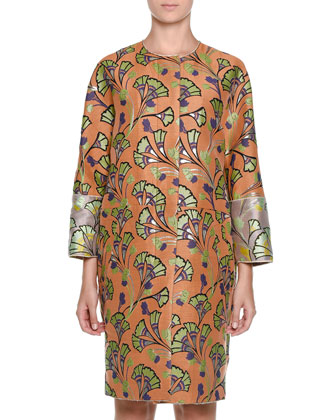 Bracelet-Sleeve Fan-Print Coat, Sun Orange