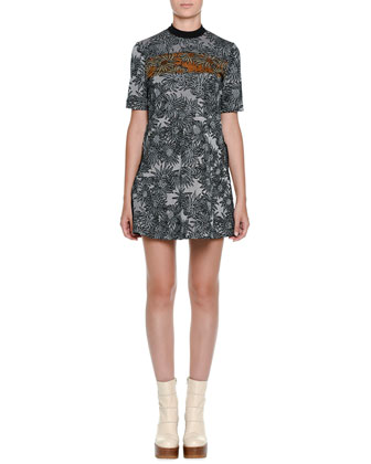 Short-Sleeve Intarsia Mini Dress, Quartz Black/Sun Orange