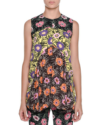 Sleeveless Floral-Print Babydoll Tunic, Black