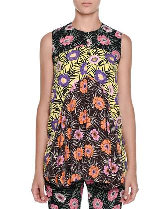 Sleeveless Floral-Print Babydoll Tunic, Black