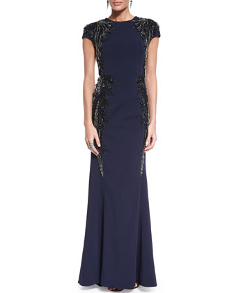 Classic Cady Sequined Cap-Sleeve Gown, Metal Bead & Two-Tone Pearly Drop ...