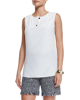 Stretch Silk Sleeveless Top, White