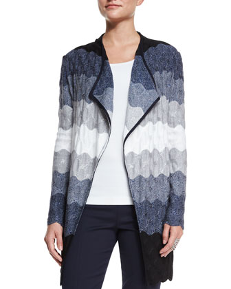 Ombre Waves Knit Artisan Cardigan, Navy Multi