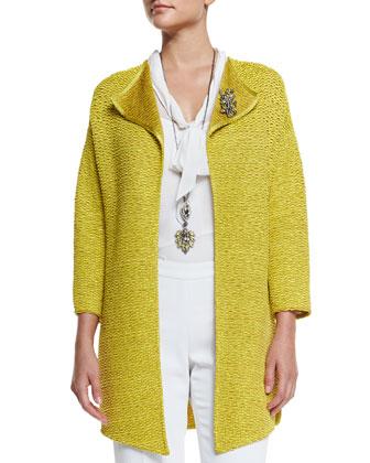 Hidden Lattice Knit 3/4-Sleeve Jacket