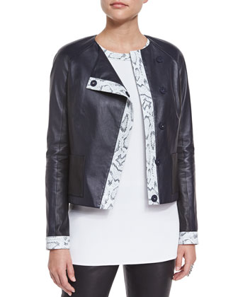 Luxe Napa Leather Jacket w/ Snake-Print Trim, Navy/Multi