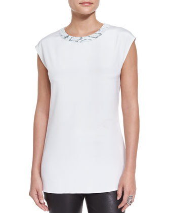 Leather-Trim Cap-Sleeve Blouse, Blanco/Multi