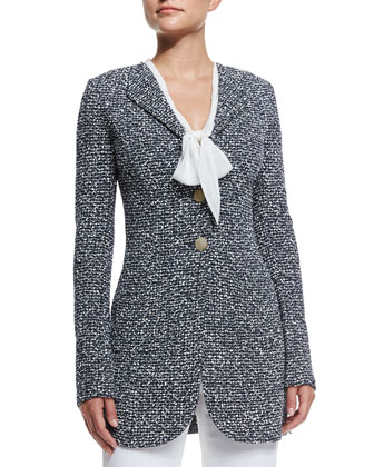 Via Krupp Knit Long Jacket, Navy Multi